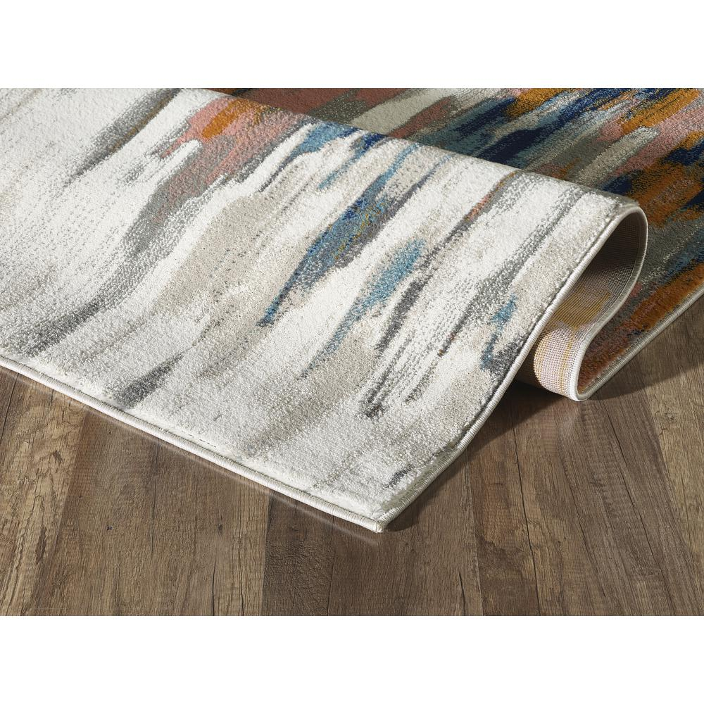Abani Porto PRT140A Contemporary Orange and Blue Abstract Area Rug  - 2 x 3. Picture 6