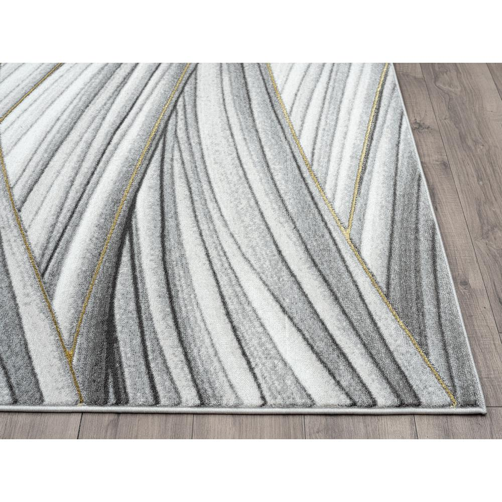 Abani Luna LUN210A Contemporary Grey and Gold Wavy Area Rug - 6 x 9. Picture 4