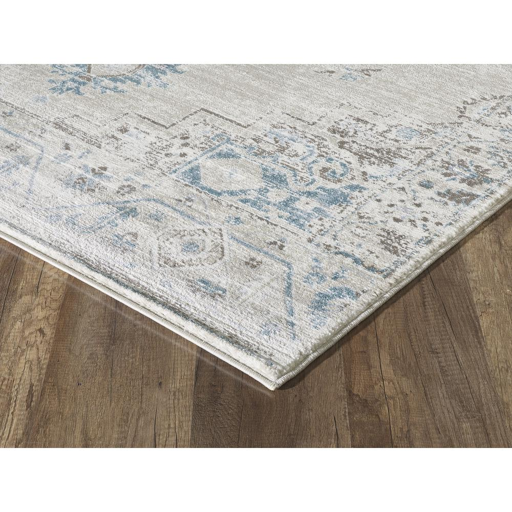 Abani Urbana URB120A Traditional Distressed Ivory and Light Blue Area Rug - 4 x 6. Picture 3