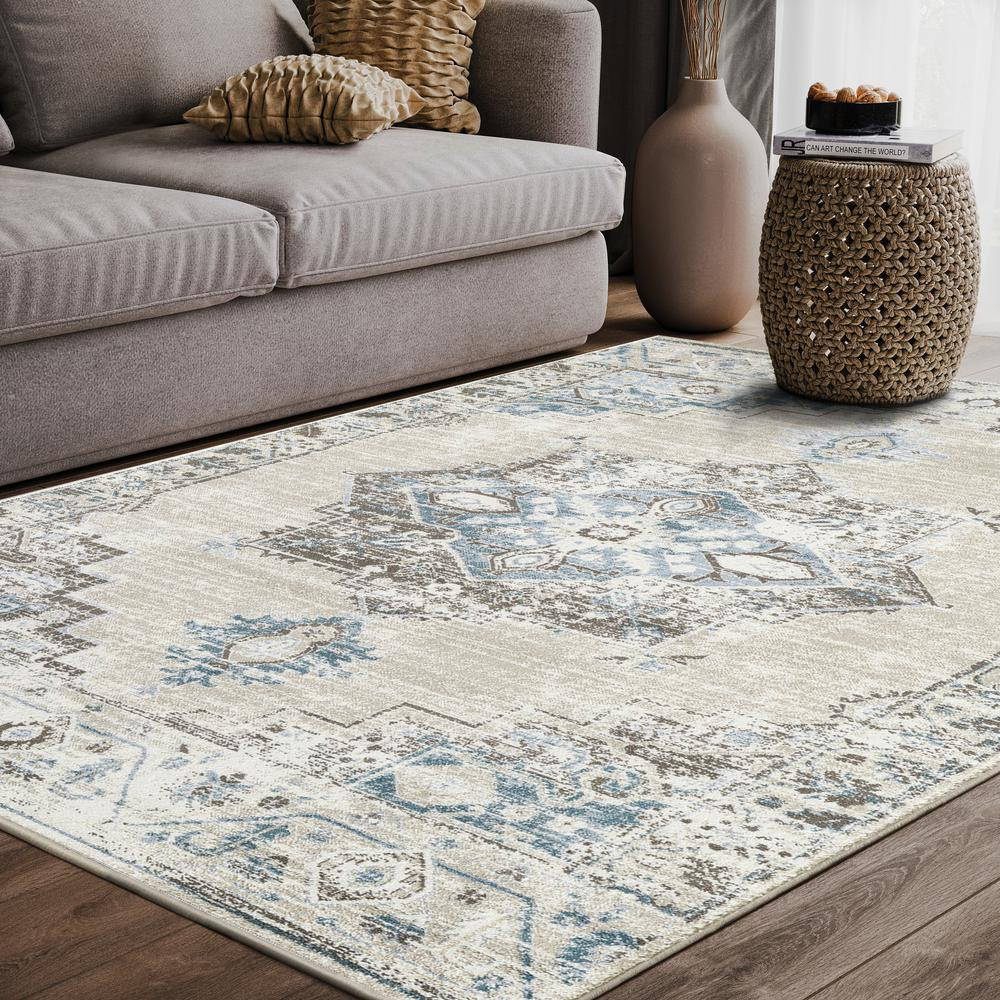 Abani Urbana URB120A Traditional Distressed Ivory and Light Blue Area Rug - 4 x 6. Picture 5