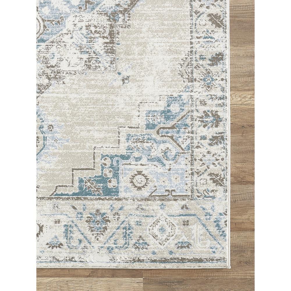 Abani Urbana URB120A Traditional Distressed Ivory and Light Blue Area Rug - 4 x 6. Picture 2