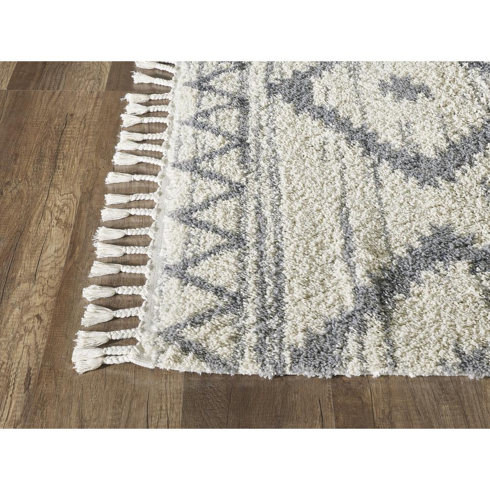 Abani Willow WIL110A Bohemian Geometric Ivory and Grey Area Rug - 3 x 5. Picture 4