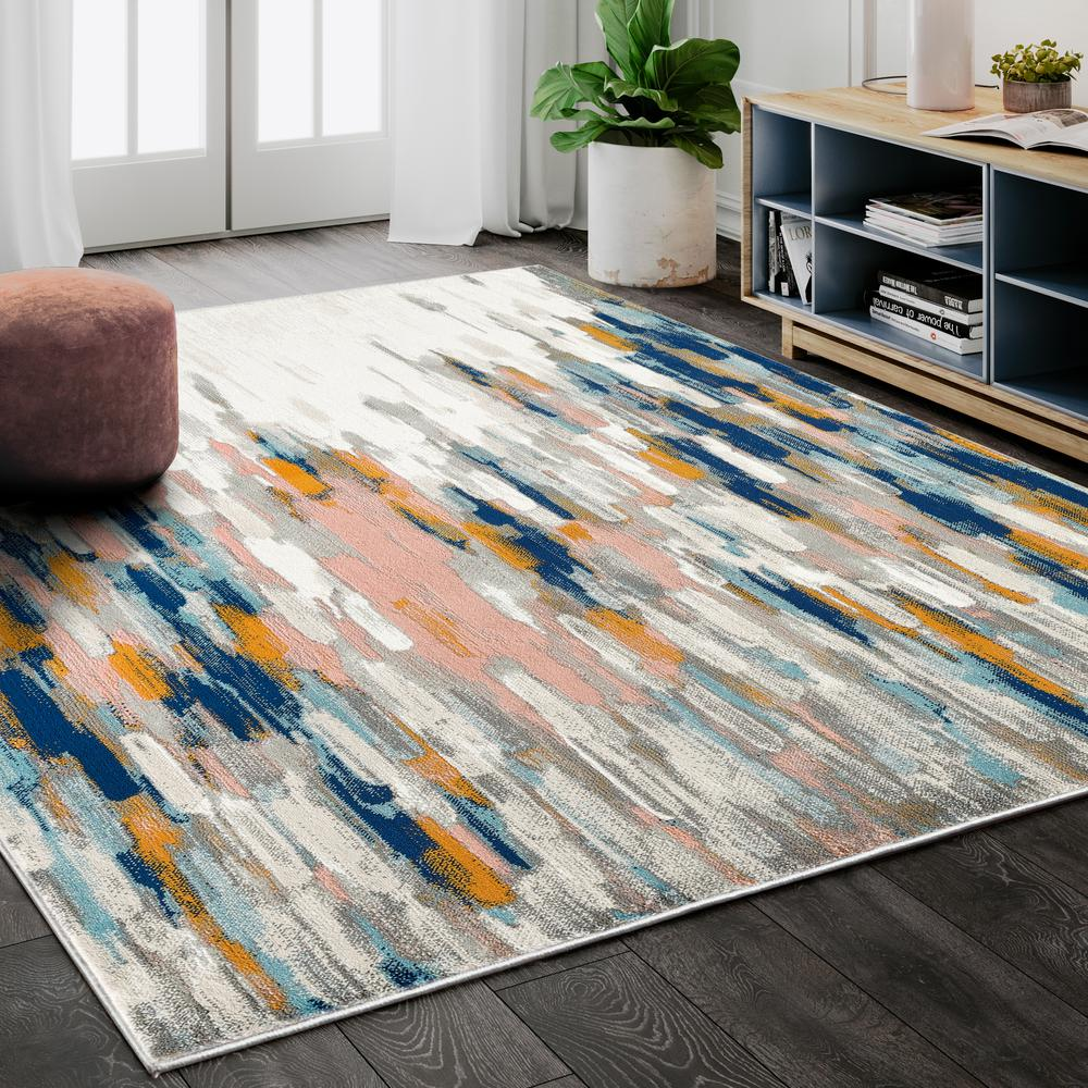 Abani Porto PRT140A Contemporary Orange and Blue Abstract Area Rug  - 2 x 3. Picture 5