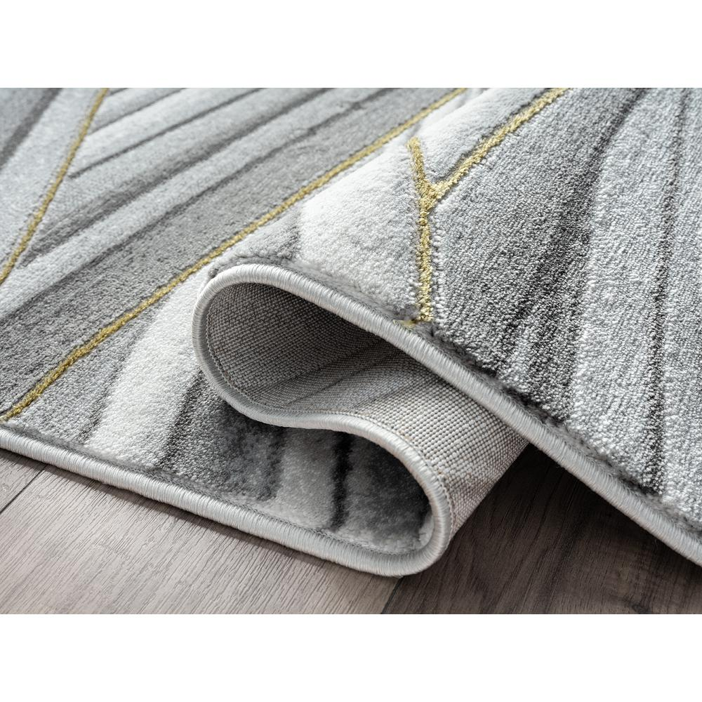 Abani Luna LUN210A Contemporary Grey and Gold Wavy Area Rug - 6 x 9. Picture 3