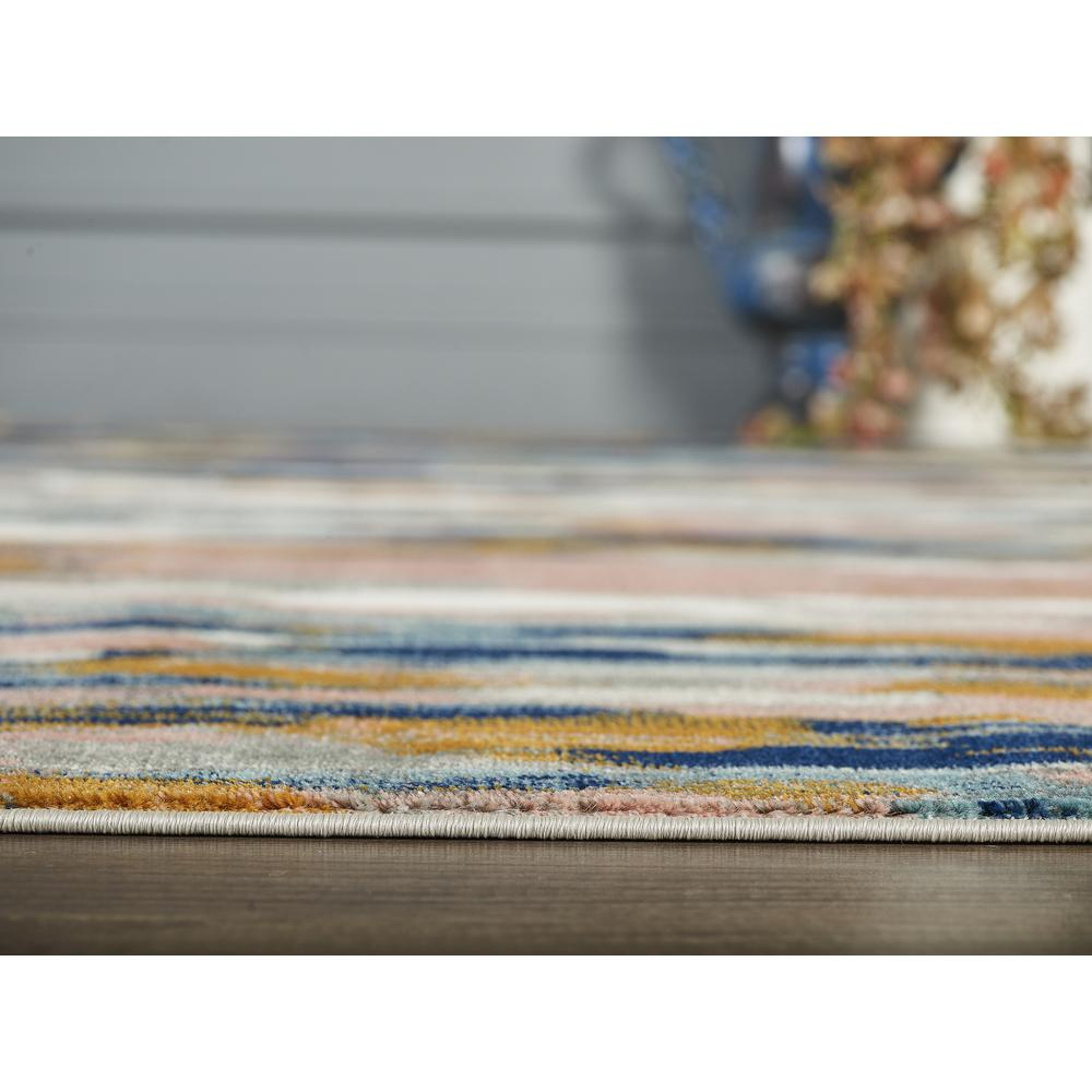 Abani Porto PRT140A Contemporary Orange and Blue Abstract Area Rug  - 2 x 3. Picture 7