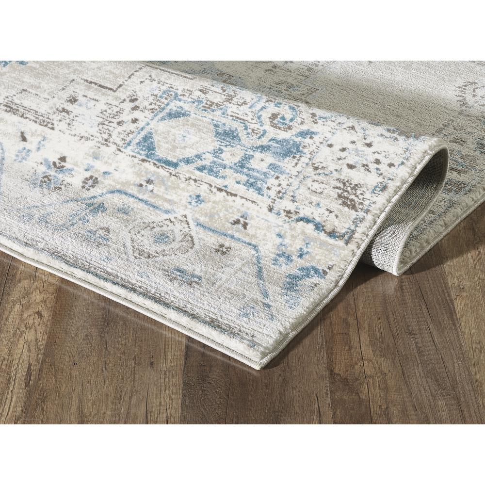 Abani Urbana URB120A Traditional Distressed Ivory and Light Blue Area Rug - 4 x 6. Picture 6