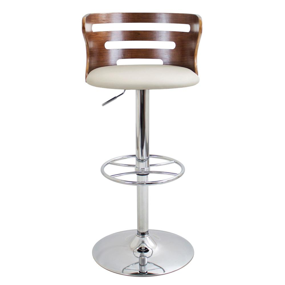Cosi Mid-Century Modern Adjustable Barstool with Swivel in Walnut and Cream Faux Leather. Picture 6