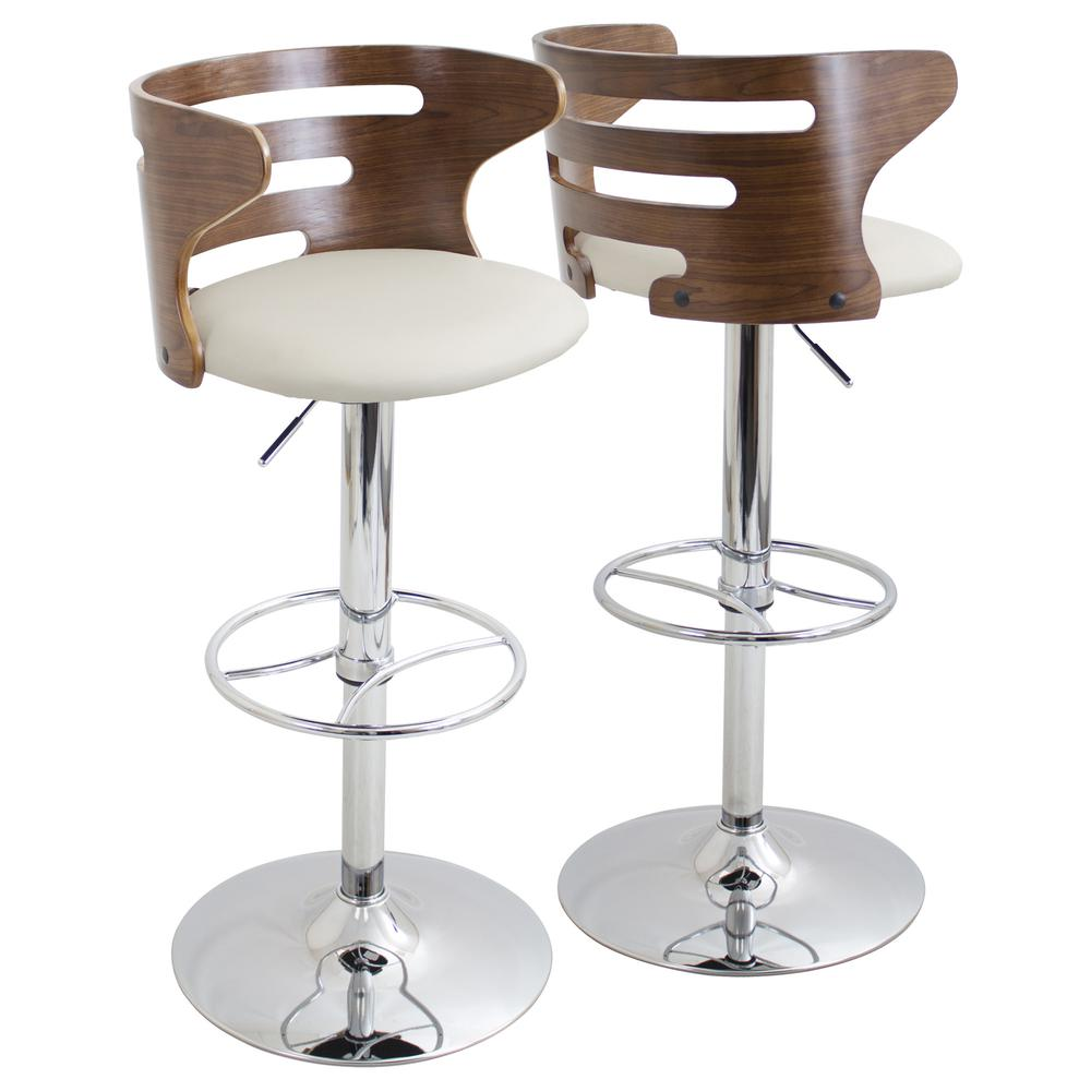 Cosi Mid-Century Modern Adjustable Barstool with Swivel in Walnut and Cream Faux Leather. Picture 1