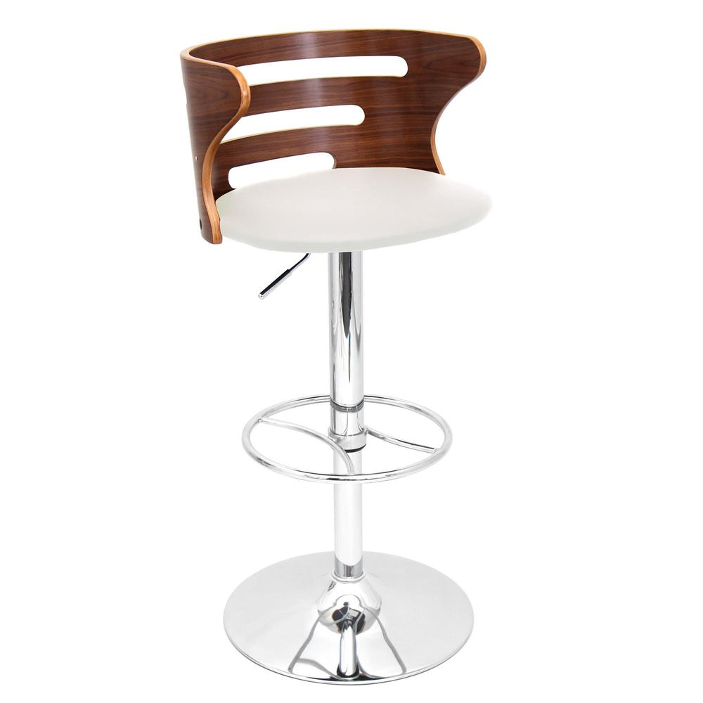 Cosi Mid-Century Modern Adjustable Barstool with Swivel in Walnut and Cream Faux Leather. Picture 2