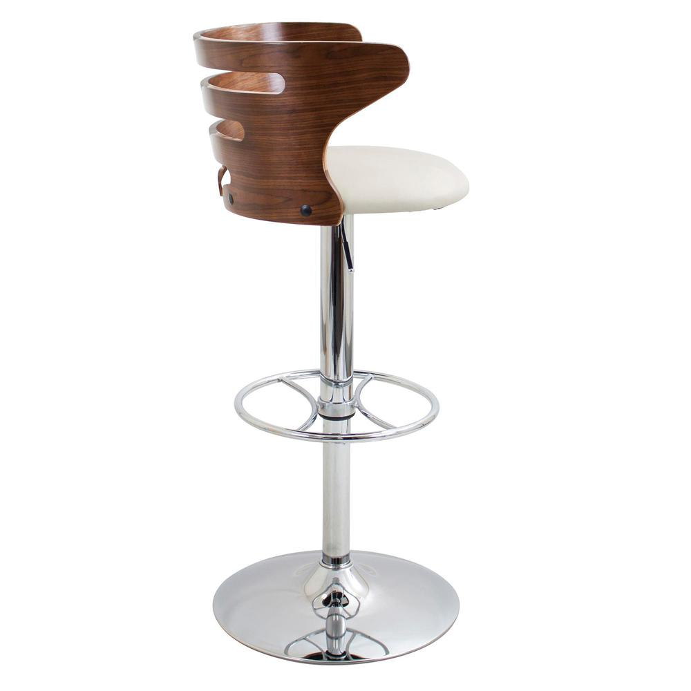 Cosi Mid-Century Modern Adjustable Barstool with Swivel in Walnut and Cream Faux Leather. Picture 3