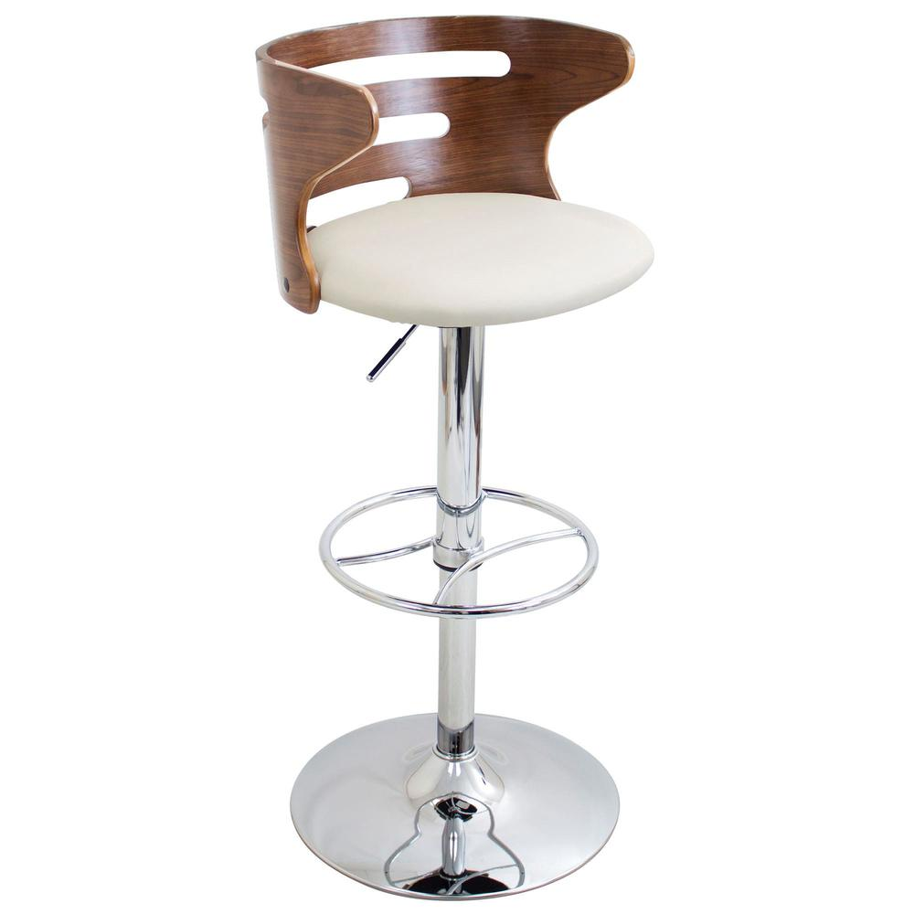Cosi Mid-Century Modern Adjustable Barstool with Swivel in Walnut and Cream Faux Leather. Picture 7