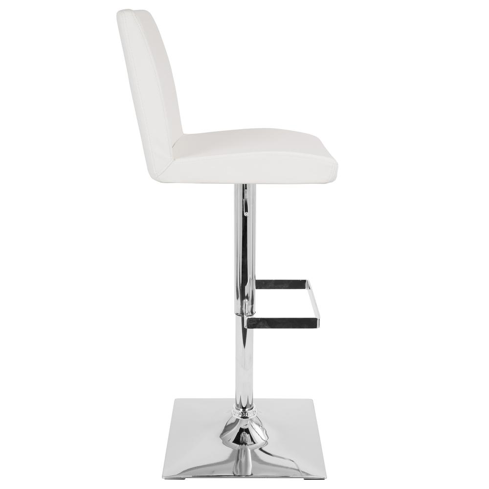 Captain Contemporary Adjustable Barstool with Swivel in White Faux Leather. Picture 2