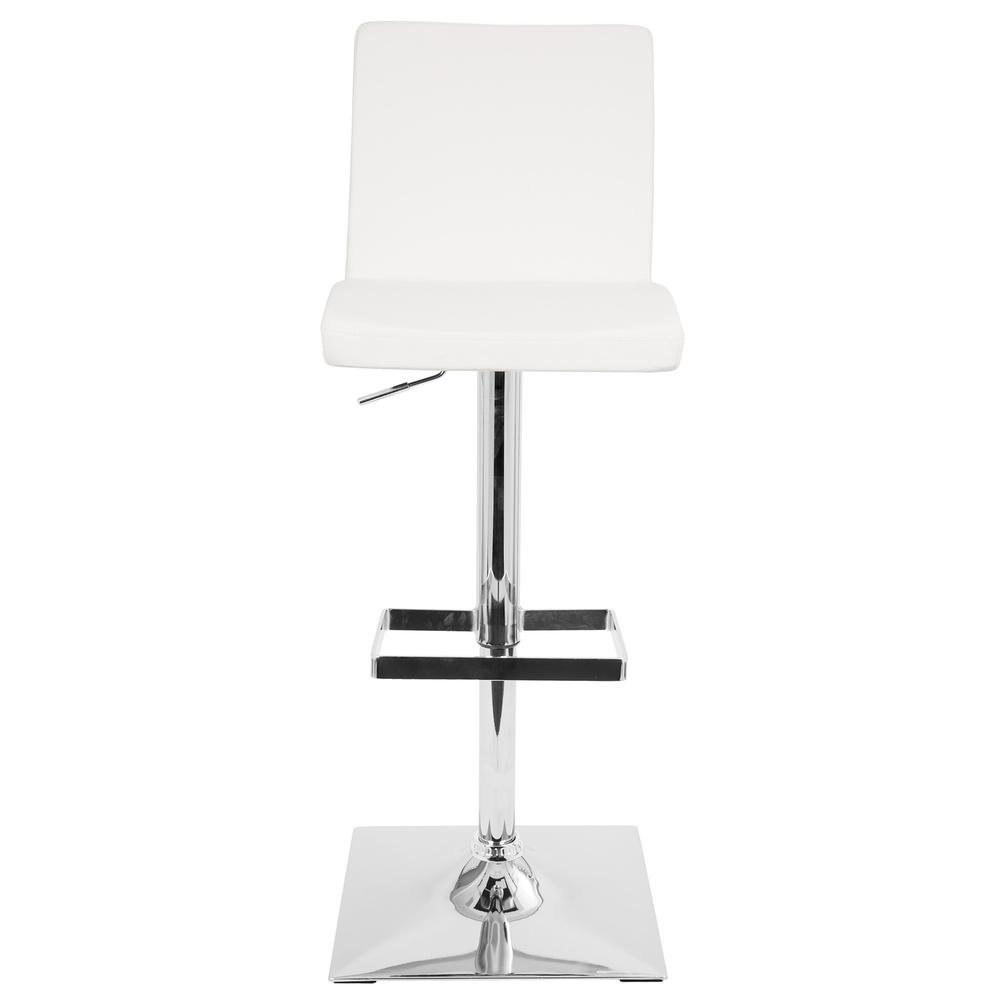 Captain Contemporary Adjustable Barstool with Swivel in White Faux Leather. Picture 5
