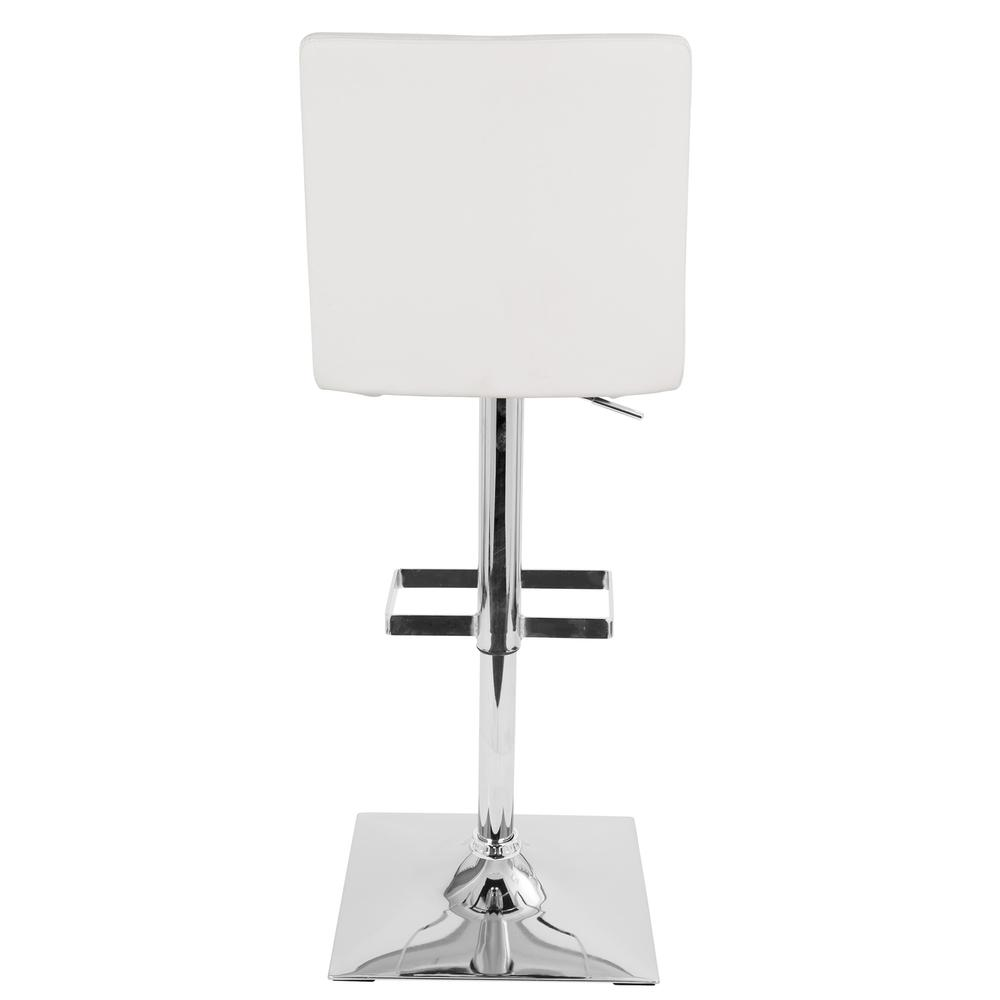 Captain Contemporary Adjustable Barstool with Swivel in White Faux Leather. Picture 4