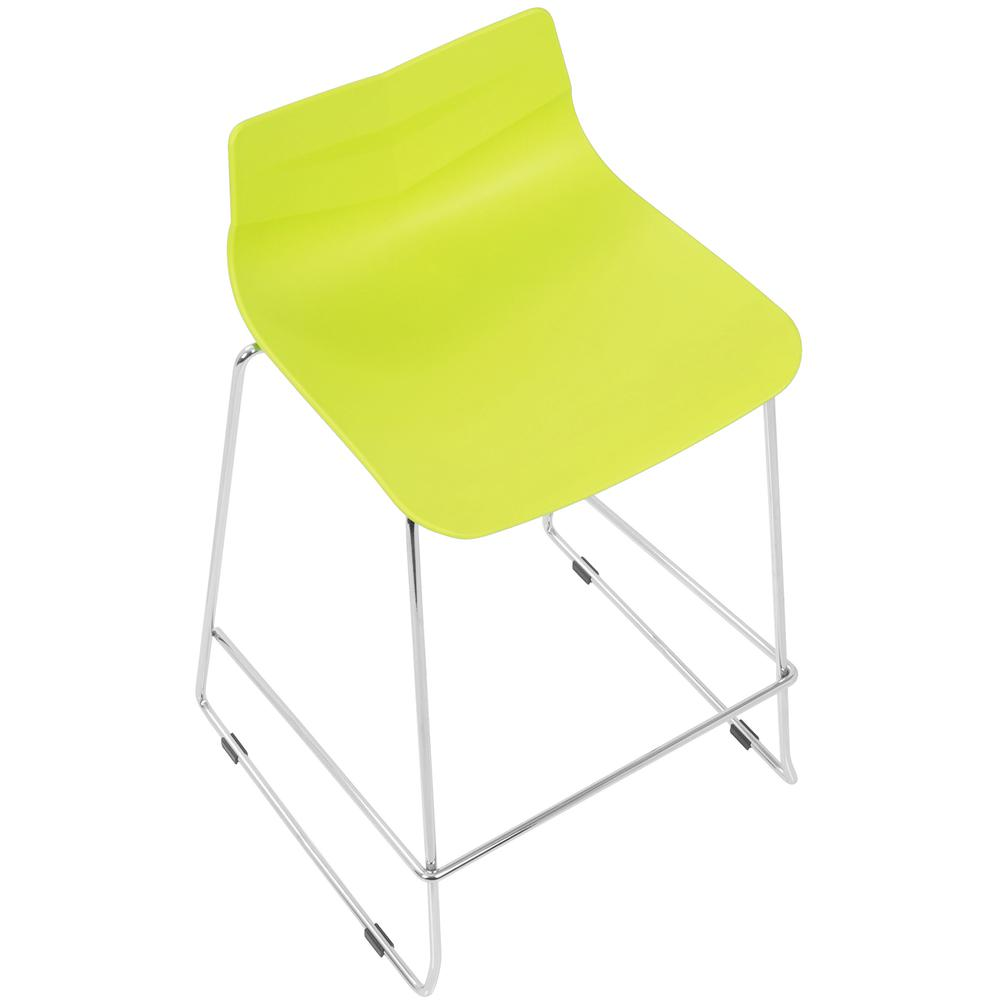 Arrow Contemporary Counter Stool in Lime Green - Set of 2. Picture 7