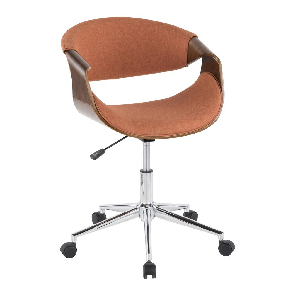 Curvo Mid Century Modern Office Chair In Walnut Wood And