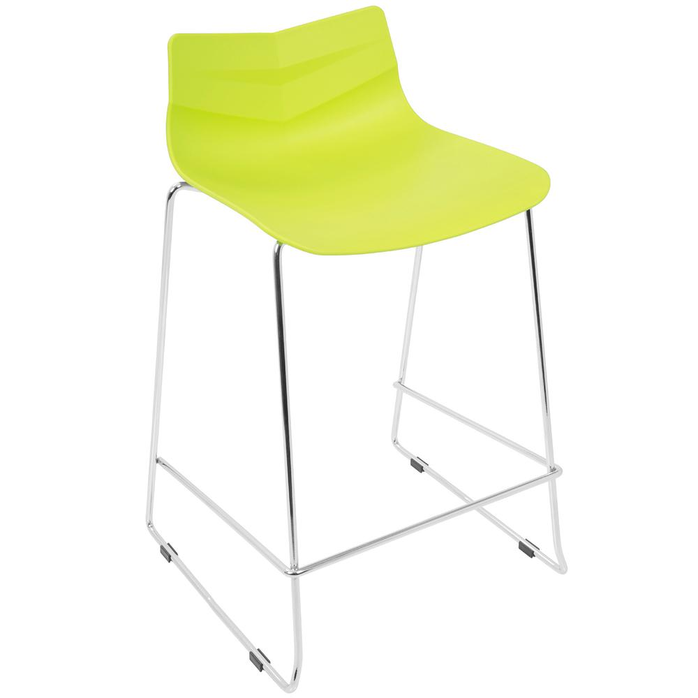 Arrow Contemporary Counter Stool in Lime Green - Set of 2. Picture 2