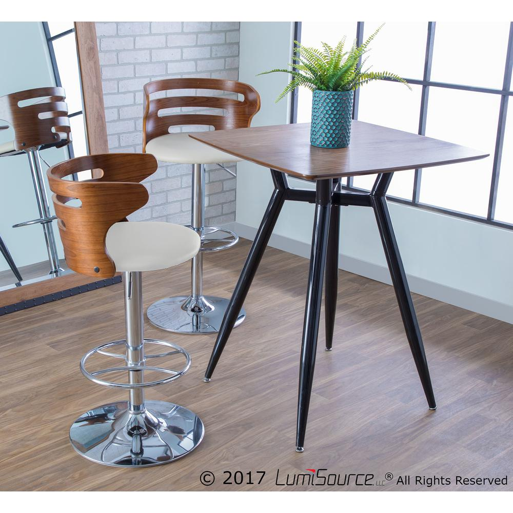 Cosi Mid-Century Modern Adjustable Barstool with Swivel in Walnut and Cream Faux Leather. Picture 8