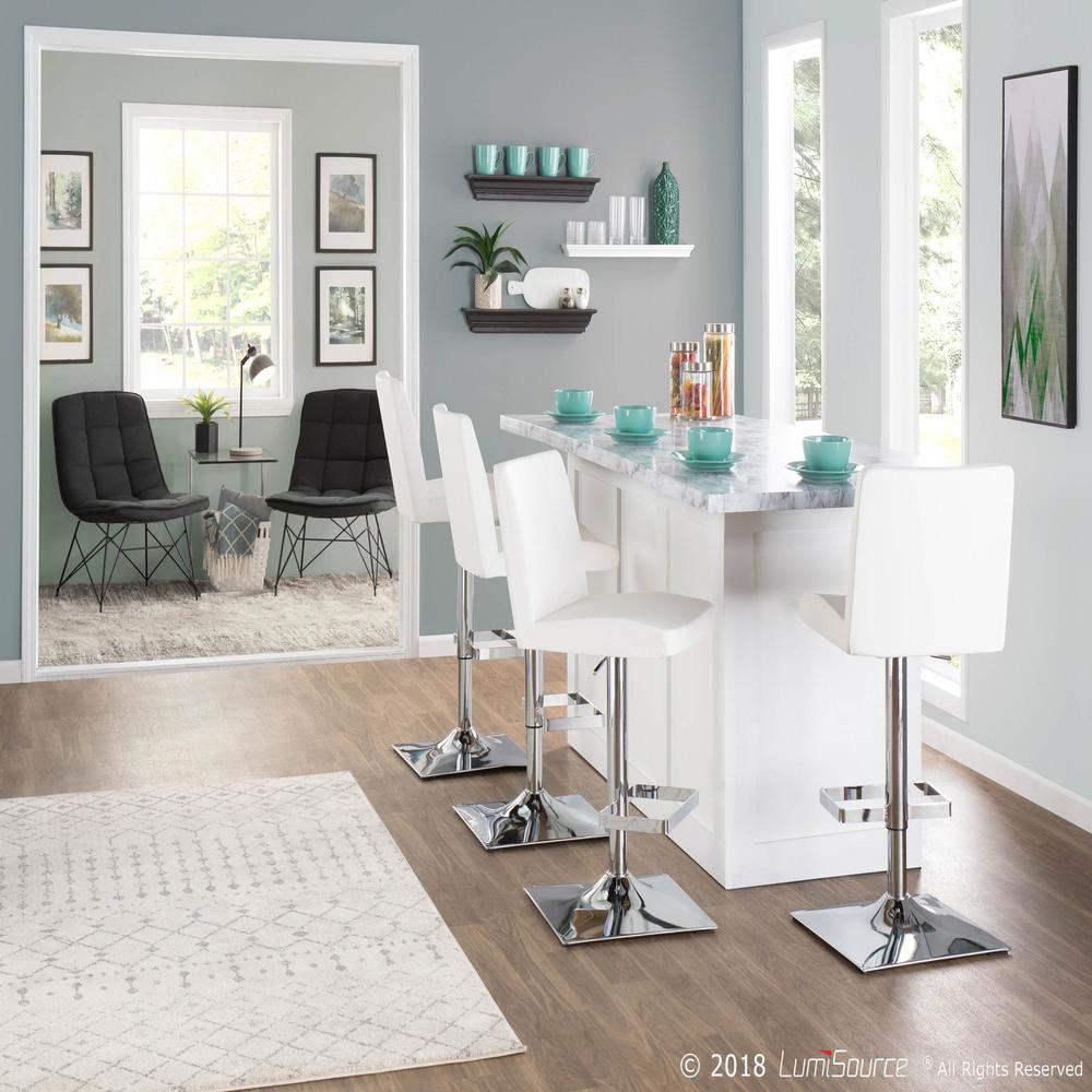 Captain Contemporary Adjustable Barstool with Swivel in White Faux Leather. Picture 7