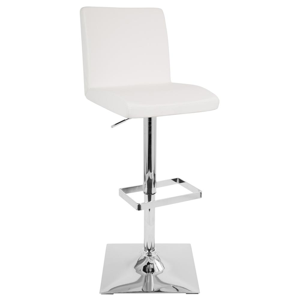 Captain Contemporary Adjustable Barstool with Swivel in White Faux Leather. Picture 1