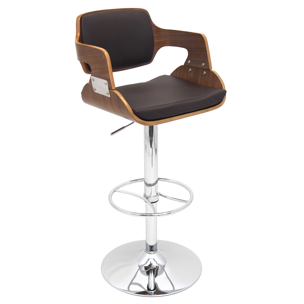 Fiore height adjustable barstool with swivel walnut brown for Sillas para barra