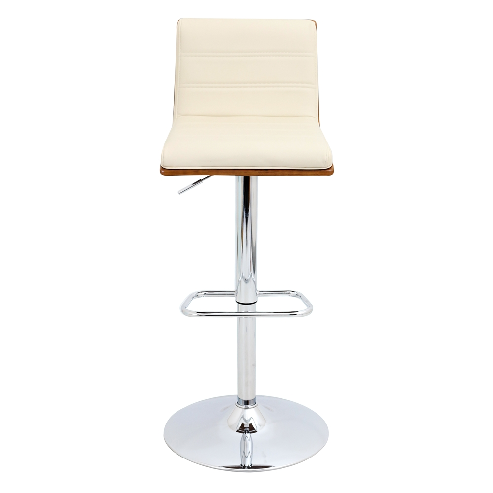 Vasari Height Adjustable Barstool With Swivel Walnut Cream
