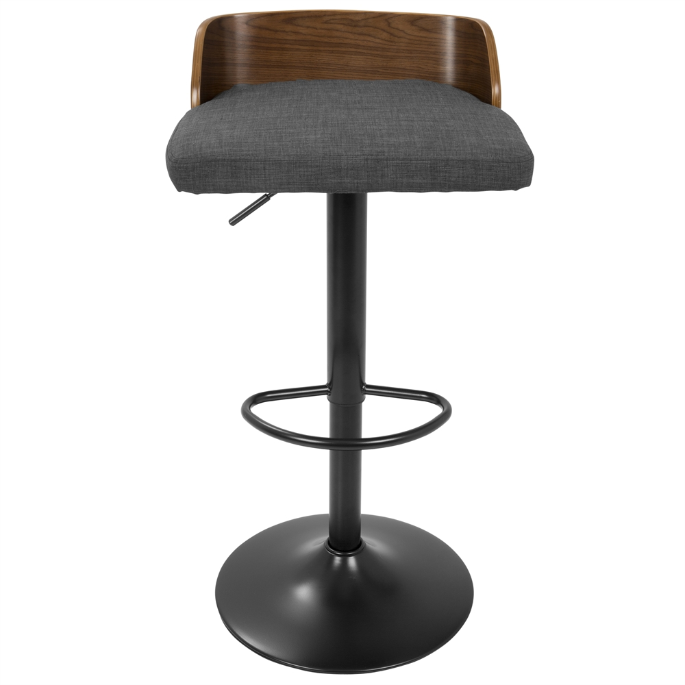 Maya Mid Century Modern Adjustable Barstool In Walnut Wood
