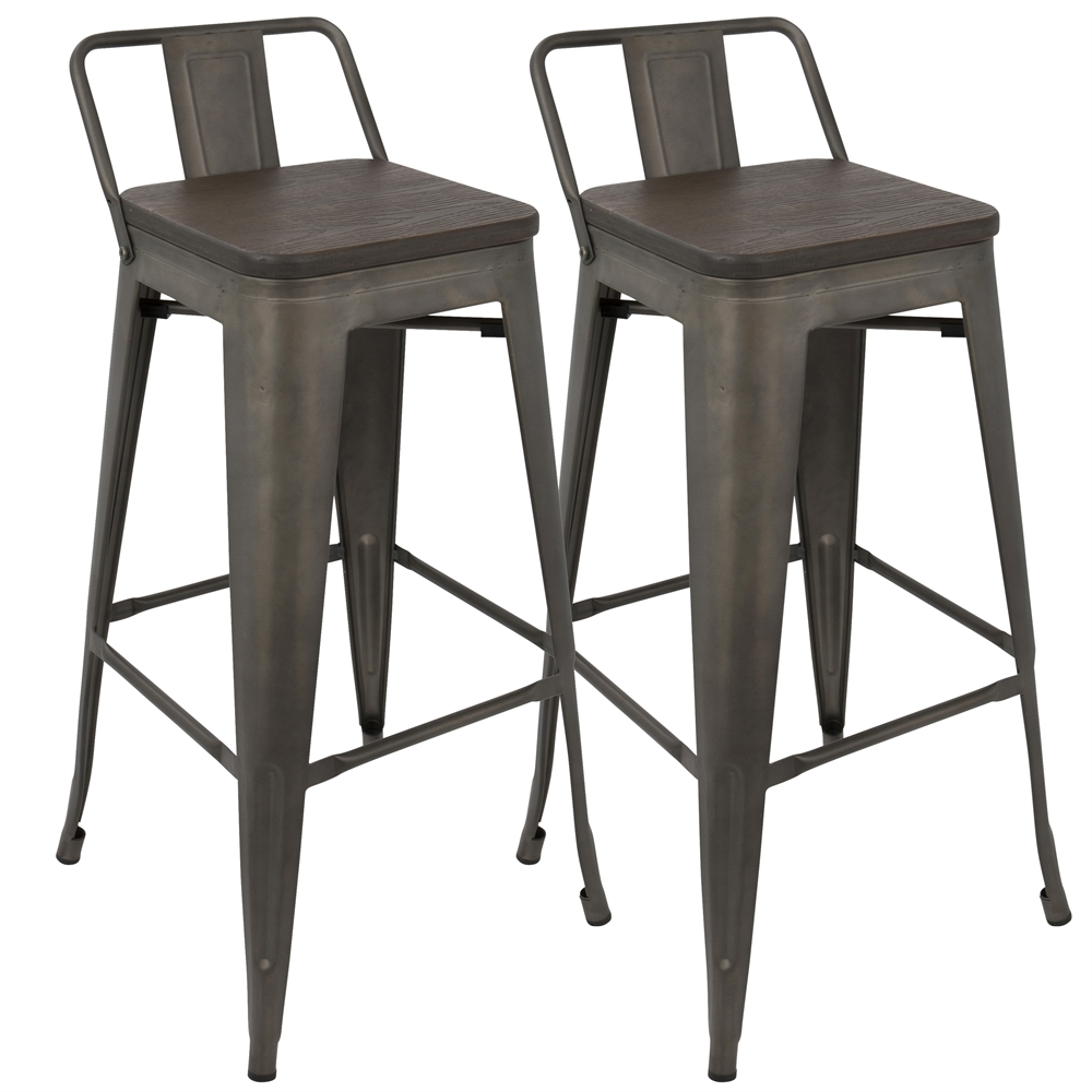Oregon Industrial Low Back Bar Stool With Antique Frame
