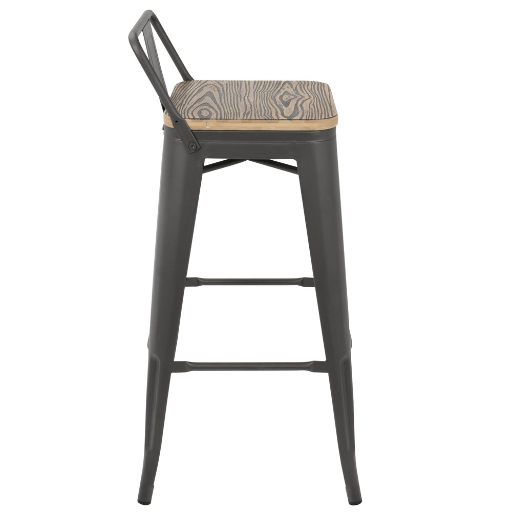 Oregon Industrial Low Back Bar Stool With Grey Frame And