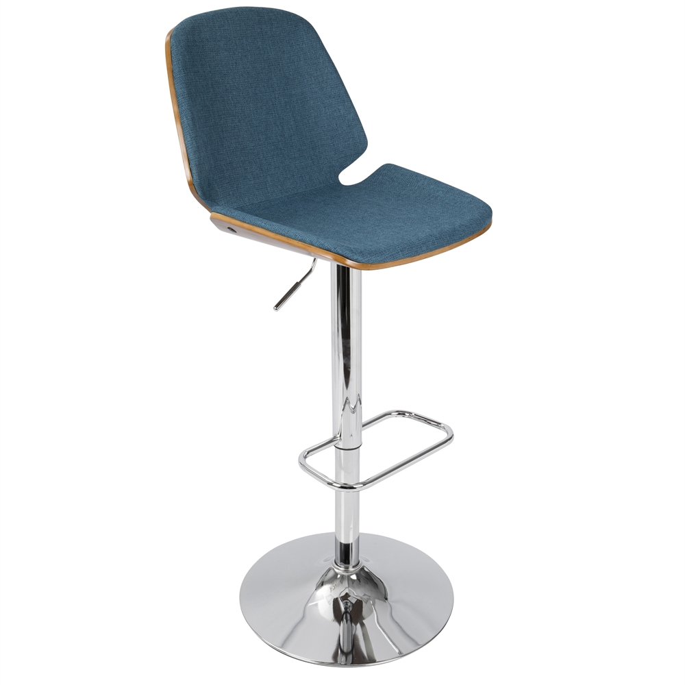 Serena Mid Century Modern Barstool In Blue Fabric And