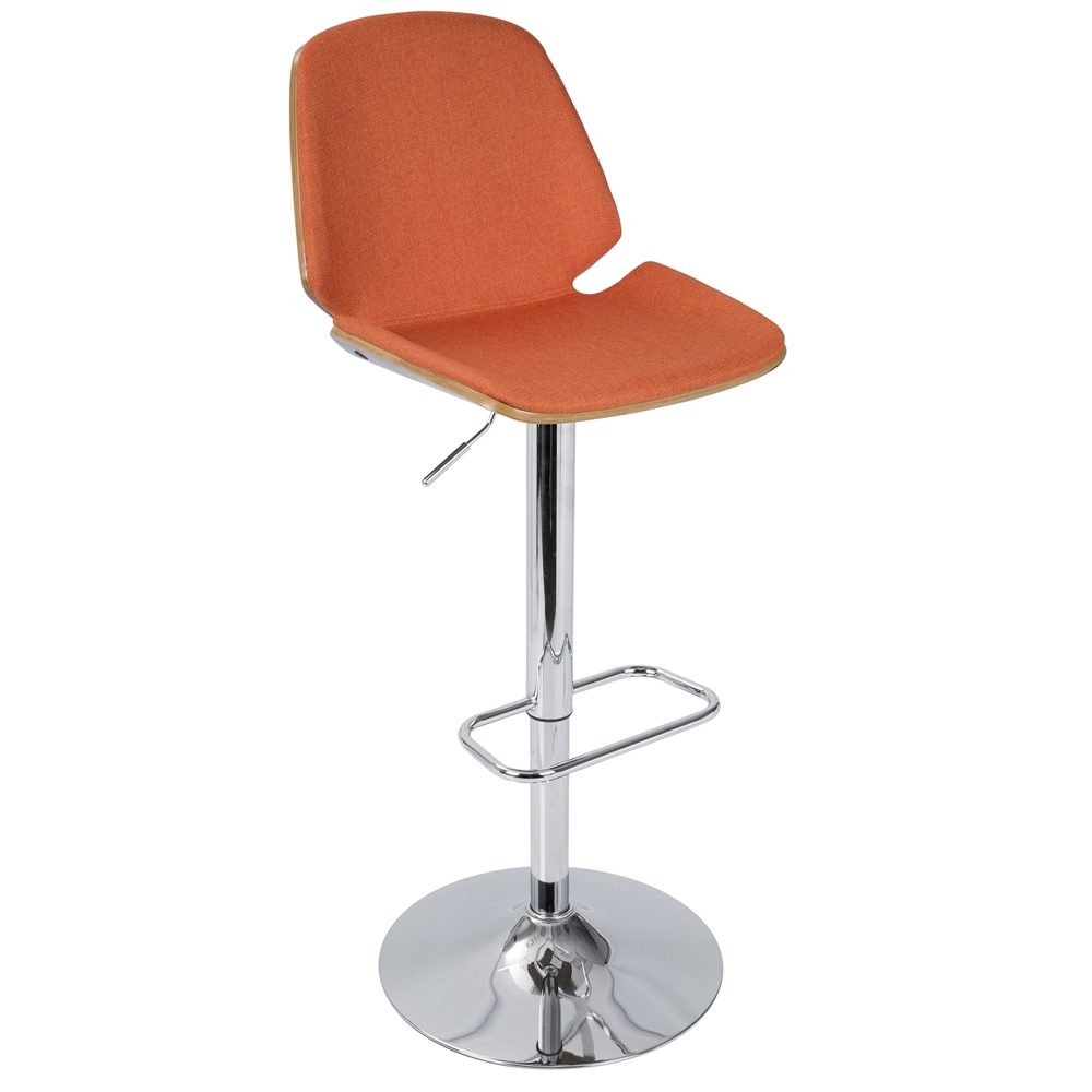 Serena Mid Century Modern Barstool In Orange Fabric And