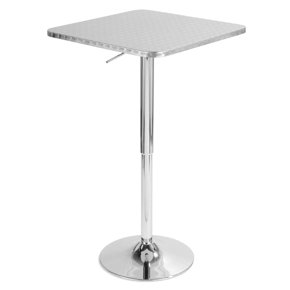 Bistro Height Adjustable Bar Table Square Silver