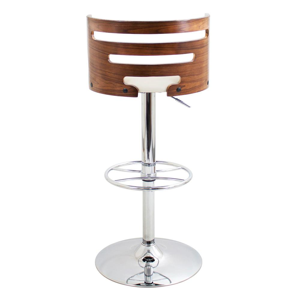 Cosi Mid-Century Modern Adjustable Barstool with Swivel in Walnut and Cream Faux Leather. Picture 5