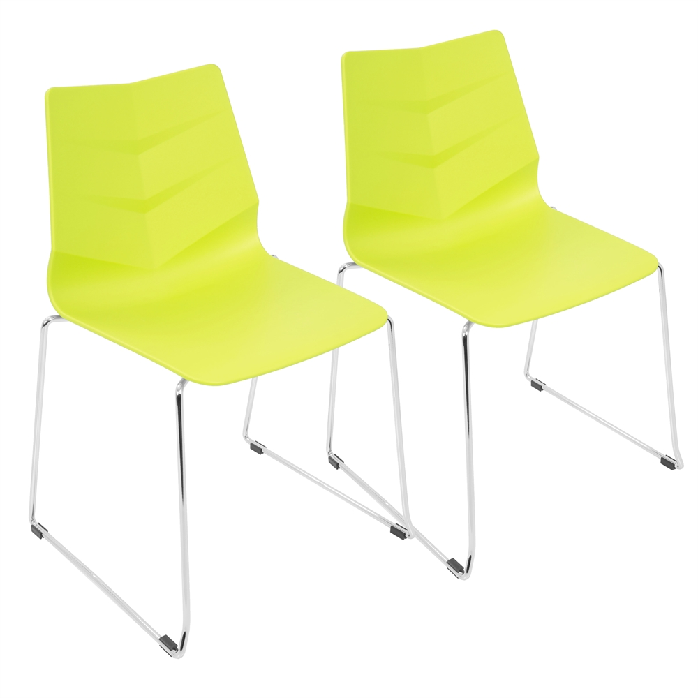 Arrow Contemporary Dining Chair In Lime Green Set Of 2