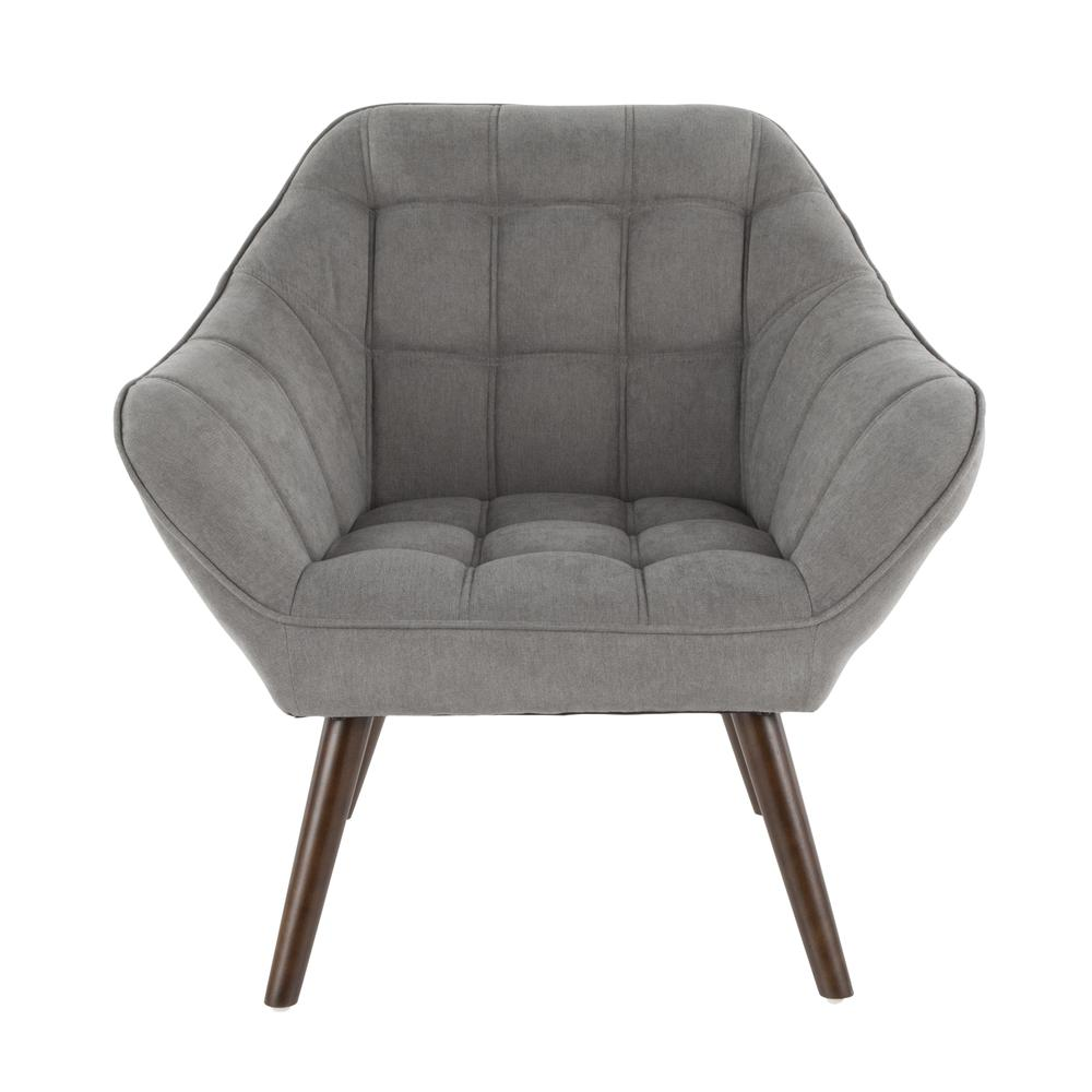 Boulder Mid Century Modern Accent Chair In Grey Fabric By