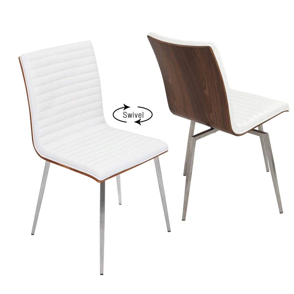 Mason chair with swivel walnut off white set of