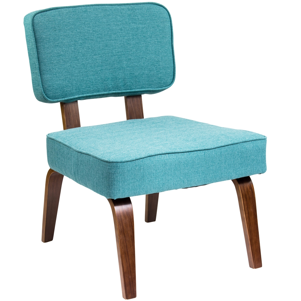 Nunzio Mid Century Modern Accent Chair In Teal Fabric