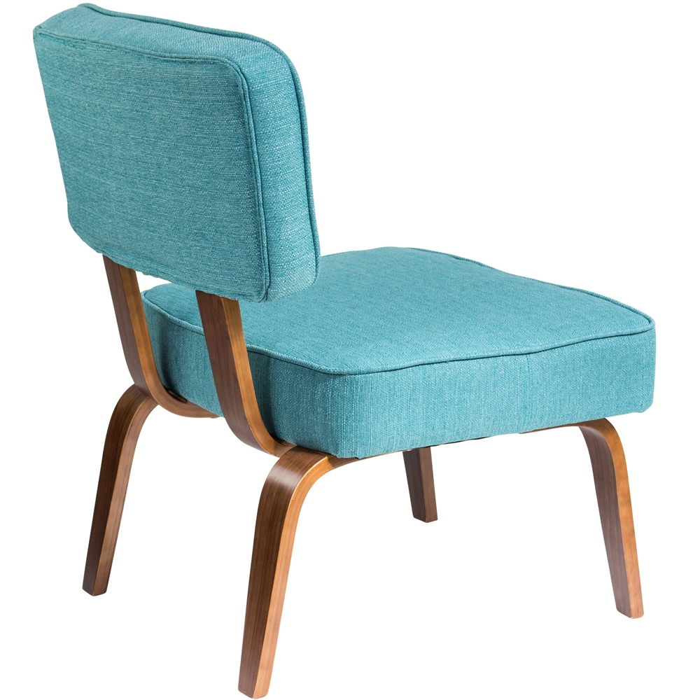nunzio mid century modern accent chair in teal fabric. Black Bedroom Furniture Sets. Home Design Ideas