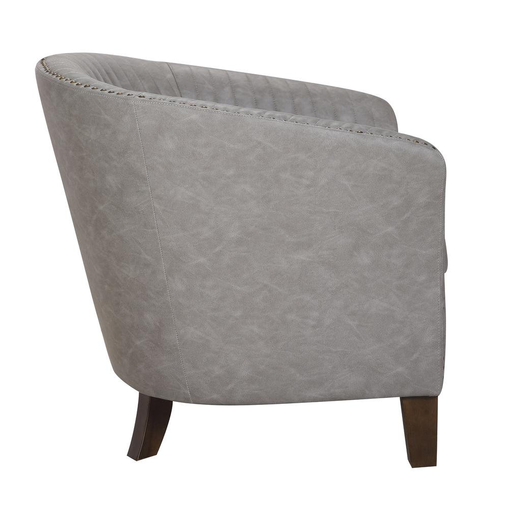 Shelton Contemporary Club Chair In Light Grey Faux Leather By LumiSource