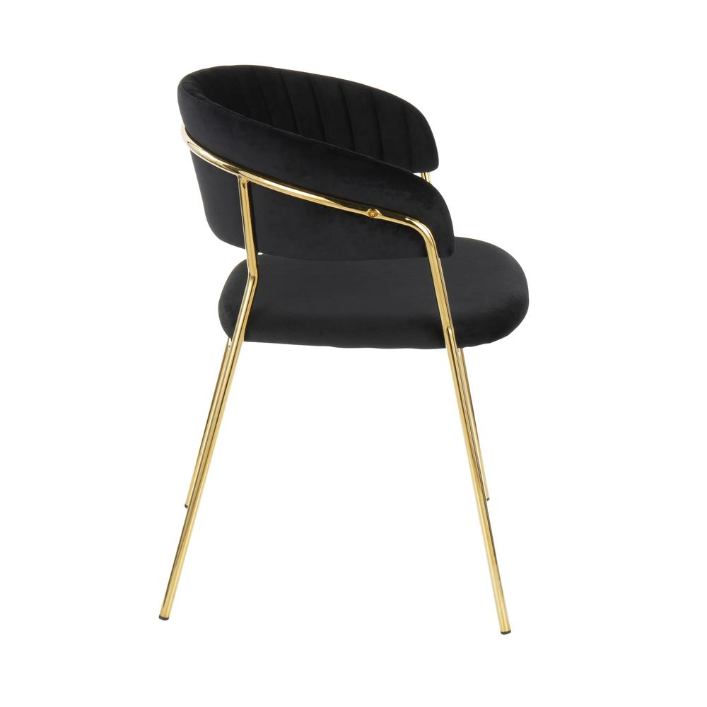 Tania Contemporary Glam Chair In Gold Metal With Black