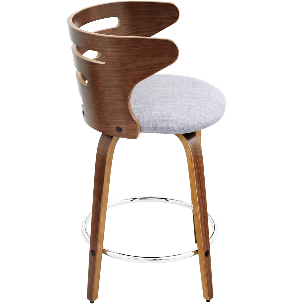 Cosini Counter Stool With Swivel Walnut Grey