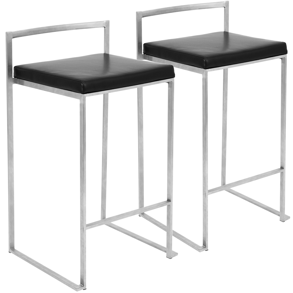 Fuji stackable counter stool black set of 2 for Black counter stools