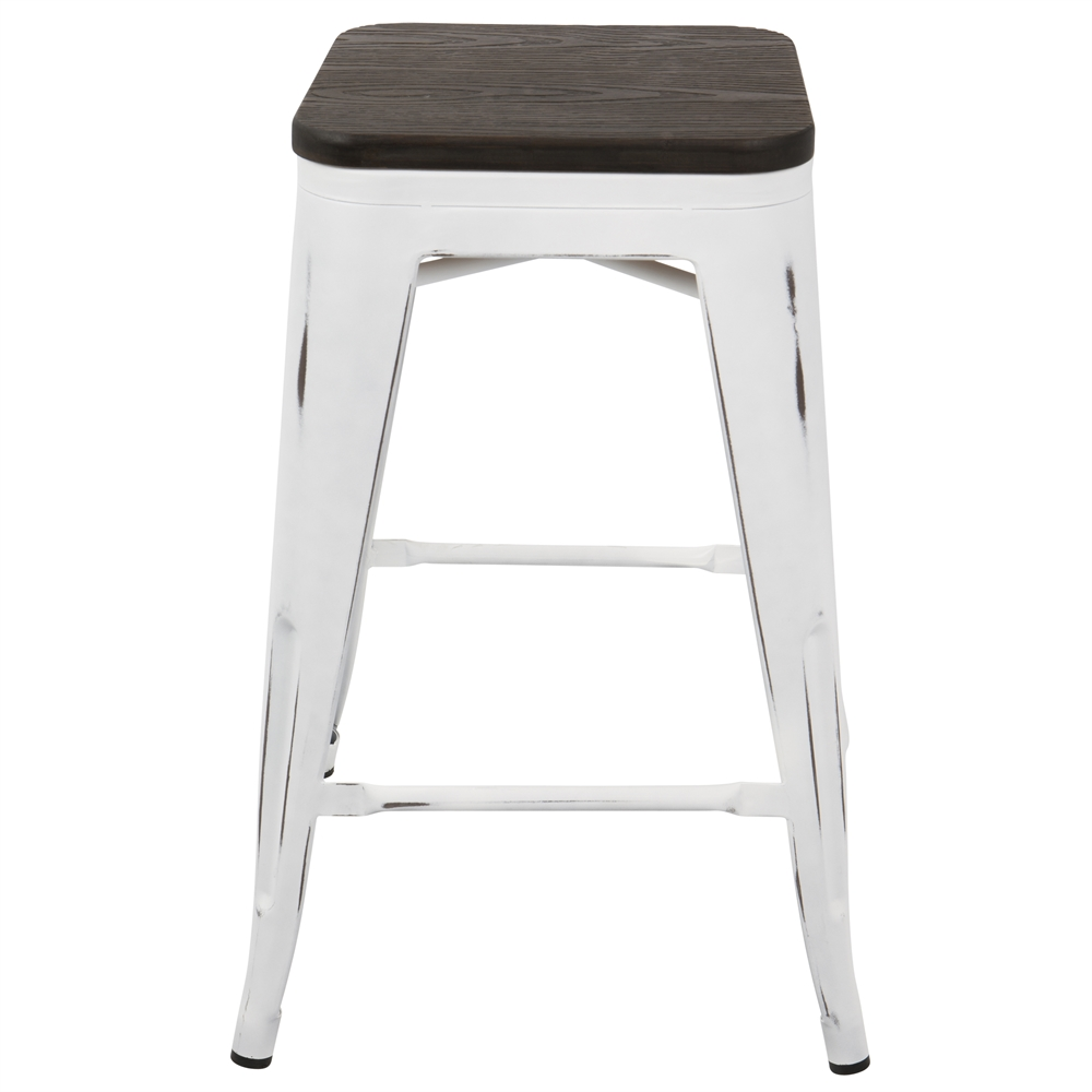 Oregon Industrial Stackable Counter Stool With White Frame
