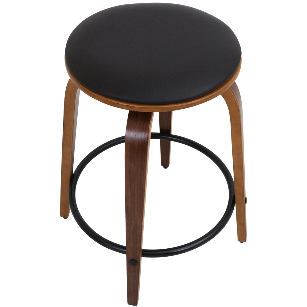 Porto Counter Stools With Swivel Walnut Brown Set Of 2