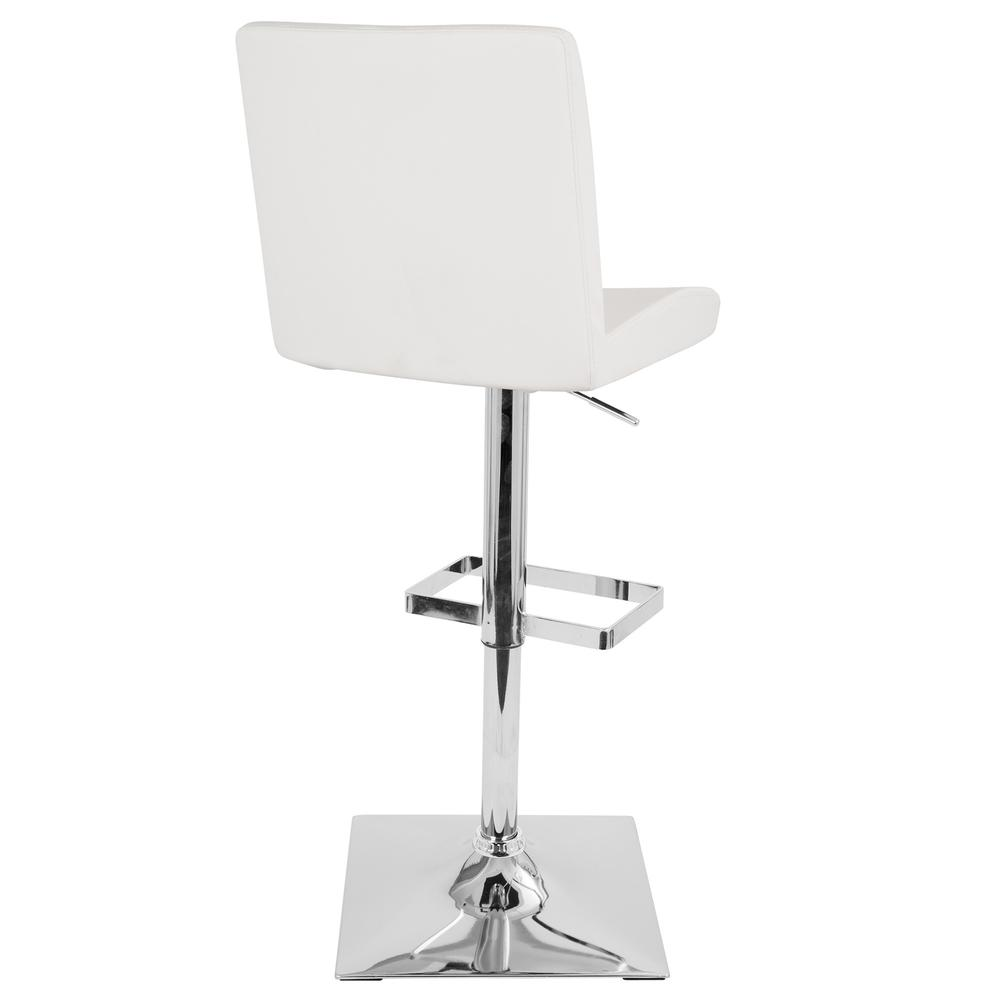 Captain Contemporary Adjustable Barstool with Swivel in White Faux Leather. Picture 3