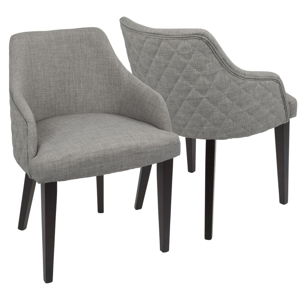 Elliott Contemporary Dining Chair In Espresso And Grey By