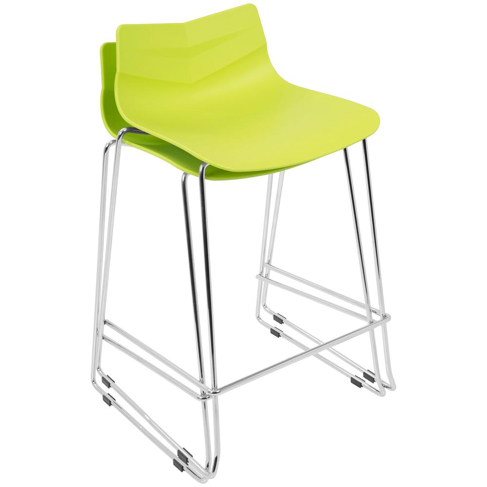 Arrow Contemporary Counter Stool in Lime Green - Set of 2. Picture 8