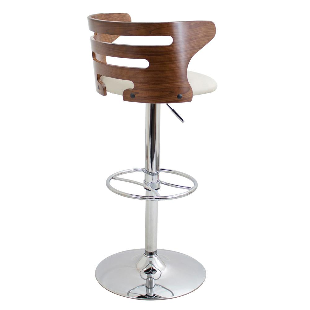 Cosi Mid-Century Modern Adjustable Barstool with Swivel in Walnut and Cream Faux Leather. Picture 4