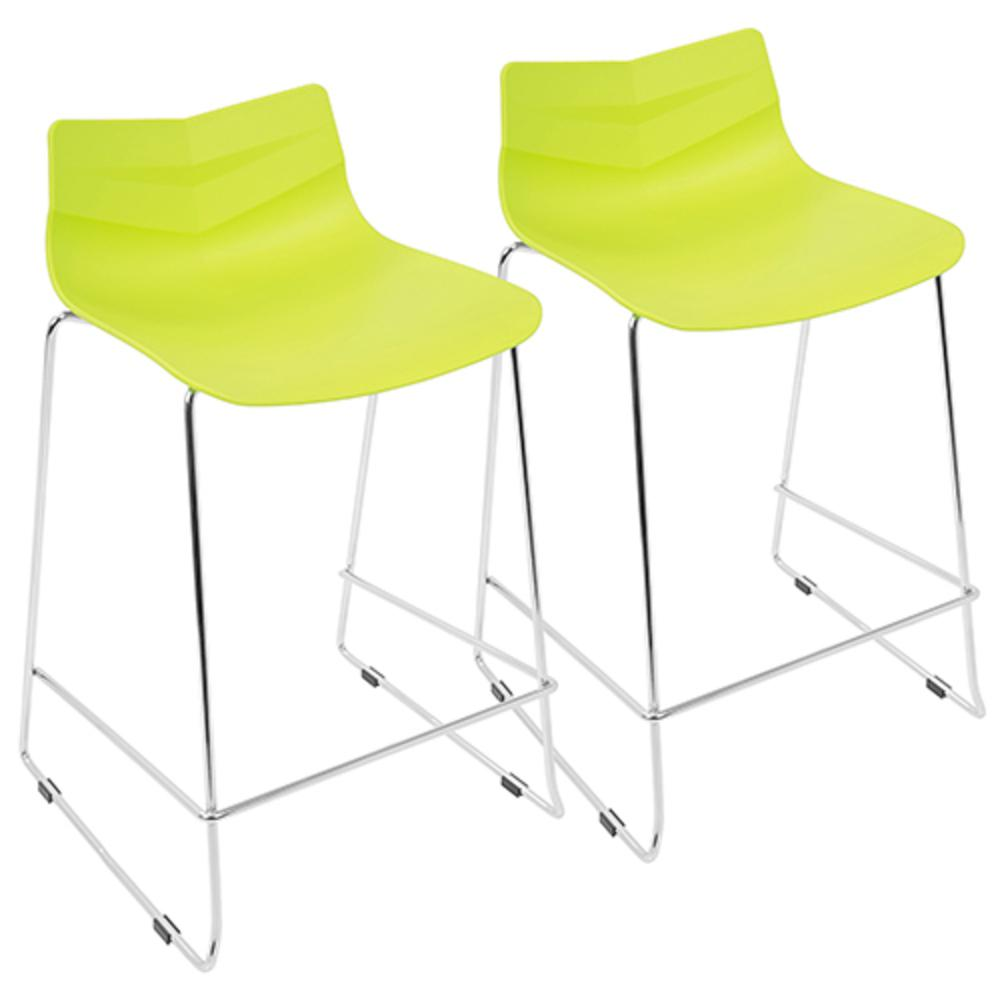 Arrow Contemporary Counter Stool in Lime Green - Set of 2. Picture 1