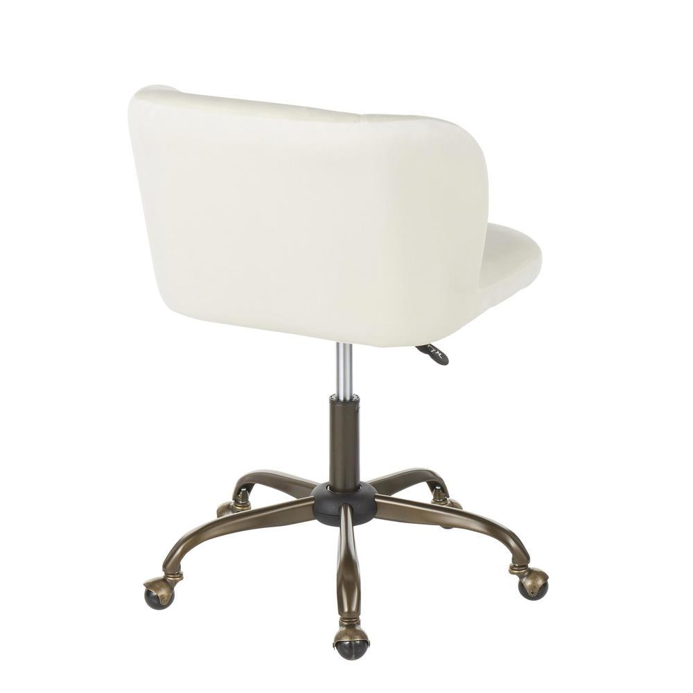 Fran Contemporary Task Chair in Cream Velvet. Picture 3